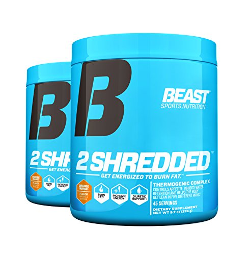Beast Sports Nutrition 2 Shredded: Thermogenic Powder, Metabolism Booster, and Appetite Suppressant | Best Fat Burner for Weight Loss and Reduced Water Retention, Orange Mango, 45 Servings, 2 Pack