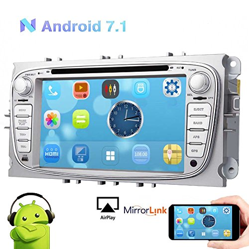 EinCar Android 7.1 2GB RAM Car Stereo DVD GPS Navigation Sat Navi for Ford Mondeo Focus S-max Car CD Video Player Touch Screen Silver Autoradio Head Unit Support Bluetooth DAB+ WIFI AV OUT Subwoo