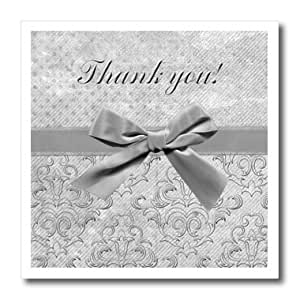 ht_167412_2 Beverly Turner Thank you Design - Gray Bow on Gray Damask Design, Thank you - Iron on Heat Transfers - 6x6 Iron on Heat Transfer for White Material