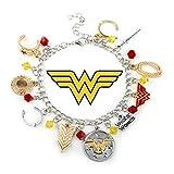 DC Comics Wonder Woman Silvertone/Goldtone Metal 10 Charm Bracelet