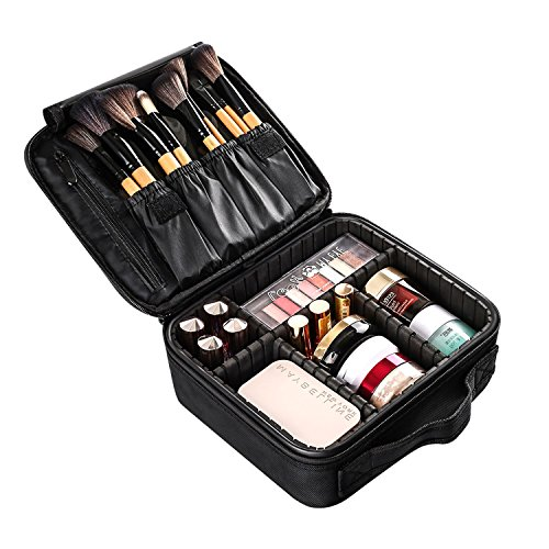 Large Travel Makeup Train Case, Professional DIY Cosmetic Storage Organizer Portable Mini Make Up Bag Leather Carrying box with Adjustable Divider Black