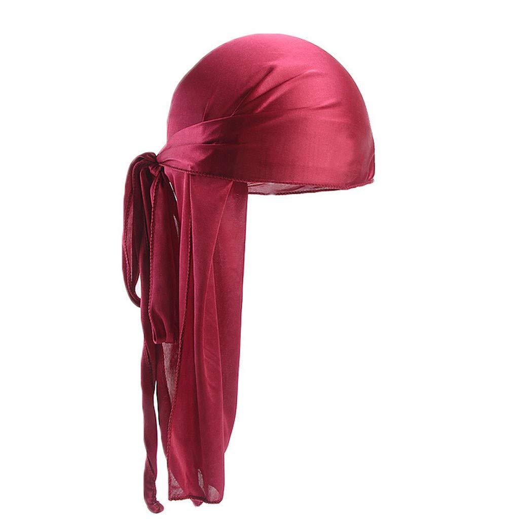 EnjoCho ❤2018 Men/Women Silk Polyester Elastic Camo Printing Durags Doo Rag Long Tail Pirate Hat Chemotherapy Hat Hip-hop Head Wraps Headwear Hair Accessories (Wine)