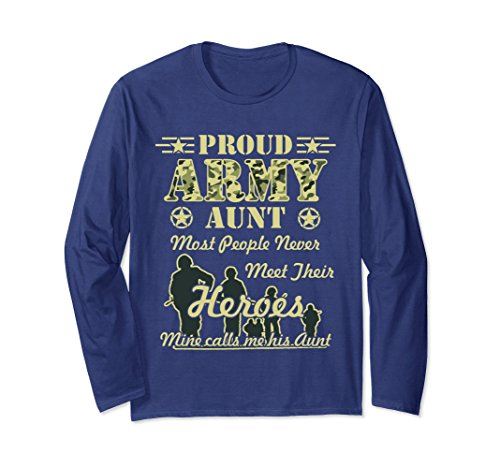 Unisex Proud Army Aunt Long Sleeve T-Shirts Medium (Army Adult Long Sleeve T-shirt)