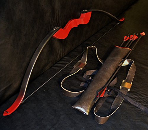 Replica Red Arrow Recurve Bow (Arsenal / Speedy), with Quiver, and 4 Cosplay Arrows (Arrow Bow Replica)