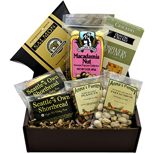 Sweet and Savory Gift Box featuring Smoked Salmon, Crackers, Pistachios, Honey Roasted Peanuts, Shortbread Cookies, and Macadamia Nut Popcorn (Best Cheese With Smoked Salmon)