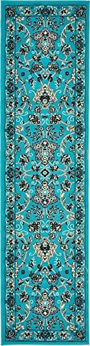 Unique Loom Kashan Collection Turquoise 2 x 8 Runner Area Rug (2' 2
