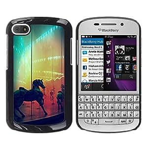 Paccase / SLIM PC / Aliminium Casa Carcasa Funda Case Cover - Horse Rainbow Fair Country Ride - BlackBerry Q10