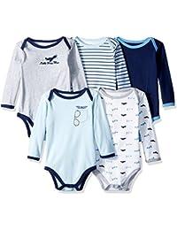 Baby Unisex Long Sleeve Bodysuits, 5-Pack