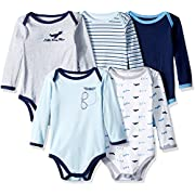 Luvable Friends Baby Infant Long Sleeve Bodysuit, 5 Pack, Airplane, 0-3 Months