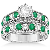 14k Gold Antique Round Cut Diamond and Emerald Bridal Matching Bridal Ring Set in Fine