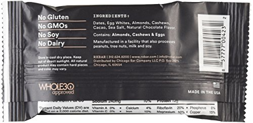 Large Product Image of RXBAR Whole Food Protein Bar, Chocolate Sea Salt, 1.83 Ounce (Pack of 12)