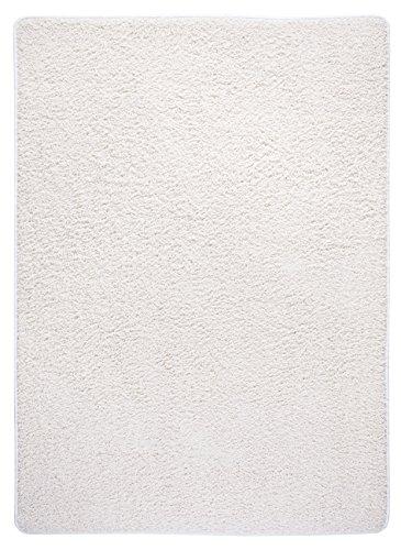 misento 292171 Shaggy Langflor Uni Farben weicher Flor Teppichläufer Brücke, 58 x 110 cm, crème / weiß