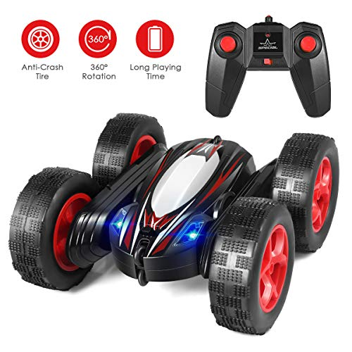 RC Stunt Car, Remote Control Car Boat 4WD 6CH 2.4Ghz Off Road Electric Racing Vehicle 360° Spins & Flips Land Water Multifunction Amphibious Tank,LED Headlights RC 4WD High Speed Off Road for 3 4 5 6