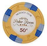 Pack of 50 Monaco Club Poker Chips, Heavyweight 13.5-gram Clay Composite by Claysmith Gaming ($0.50 Orange)