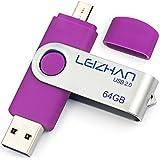 LEIZHAN Thumb Drive 64GB Micro Flash Drive Pen Drive Jump Drive Phone Pendrive USB 2.0 Memory Stick Samsung Galaxy, Xiaomi,LG,Sony, One-Plus,HTC, Meizu (Purple)