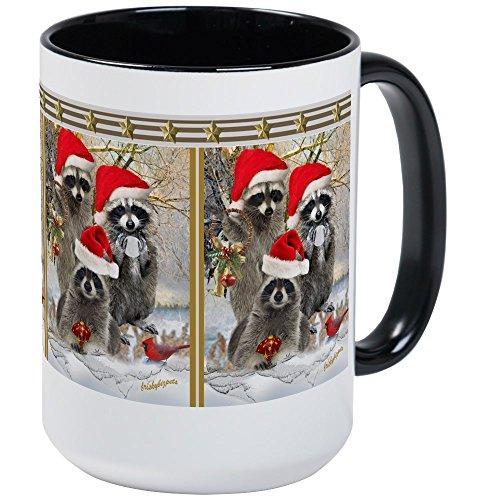 CafePress - Raccoon Trio A Winter Day Large Mug - Coffee Mug, Large 15 oz. White Coffee Cup