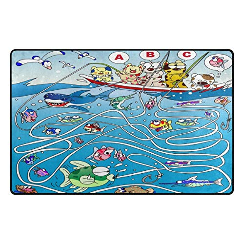 Fantasy Star Play Mat for Kids - Fishing Maze Area Rug Non-Slip Mat 31x20 Inches for Kids Room Playroom Living Room - Baby Mats for - Rug Area 1112