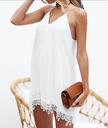 Dresses Mini Solid Neck Chiffon Women V Baggy Short Backless White Coolred qUwfR7zxW