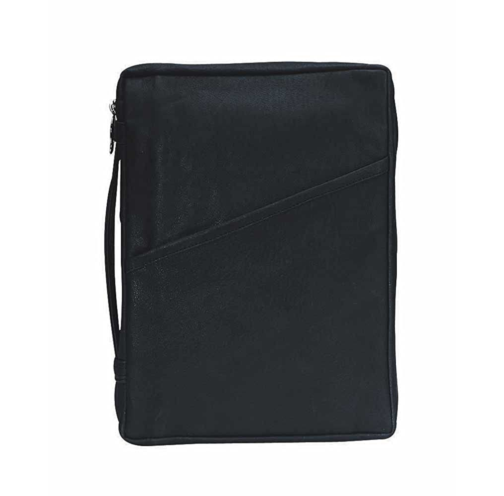 Black Classic 8 x 10.5 inch Leather Bible Cover Case with Handle Large Dicksons