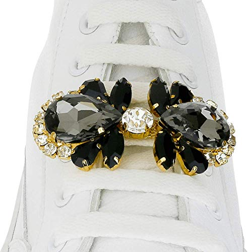 Shoelace Customization - Black Diamond Flower With White Crystal Center Charm - trainer tag for Nike, Adidas, Converse, Puma, Vans sneakers - Fashion Accessory Gift - shoelace charms for runners