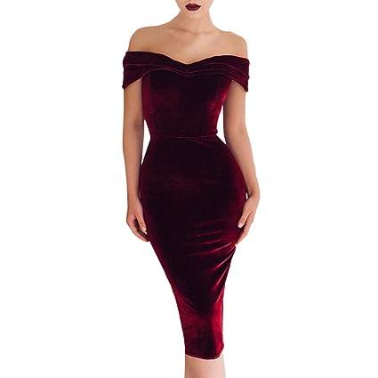 Amazon Com Sunward Women S Off Shoulder Velvet Bodycon Wrap Dress