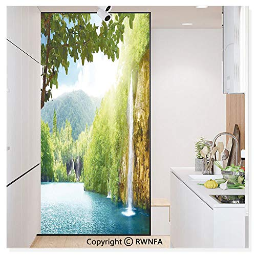 Window Privacy Film UV Blocking 11.8x59.8,Croatian Lake Landscape in Forest with Mountain View Background Artwork 3D Static Self Adhesive Glass Stickers for Home & Office,Green and Blue