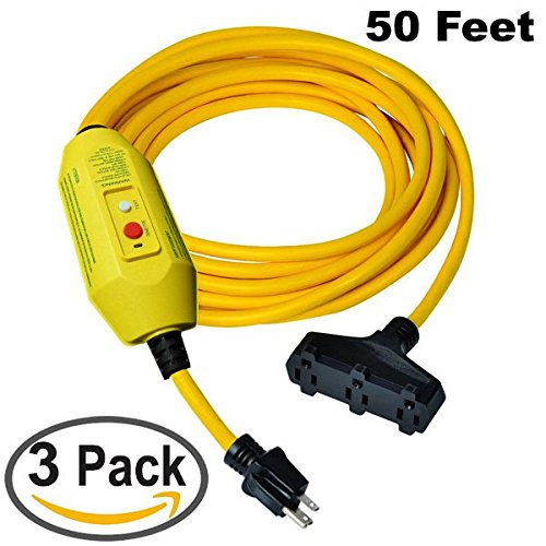 GFCI Power Extension Cord | 3 Outlets – 50 FT Cord | 3 Pack