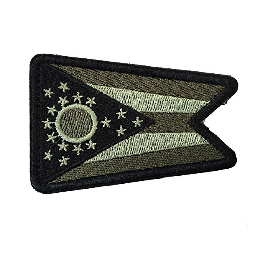 "SpaceCar USA The Buckeye State Birthplace of Aviation Ohio OH State Flag Tactical Morale Patch 3"" x 2"" Sized - Army Green"