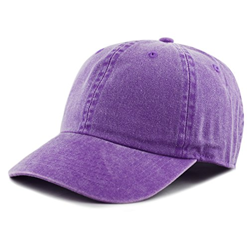 THE HAT DEPOT 100% Cotton Pigment Dyed Low Profile Six Panel Cap Hat (Purple)