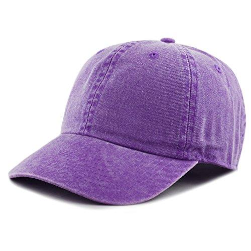 The Hat Depot 100% Cotton Pigment Dyed Low Profile Six Panel Cap Hat (Purple) ()