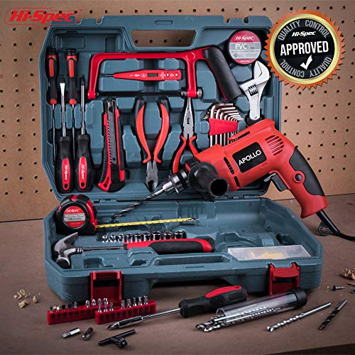 Hi-Spec Complete 130pc 110V 300W Hammer Power Drill & Hand Tool Set Combo Kit with Hacksaw, Pliers, Claw-Hammer, Wrench, Box Cutter, Hex Keys, Screwdrivers, Socket and Driver Bits, Voltage Tester Case by Hi-Spec (Image #6)
