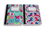 Butterflies and Unicorns Trendy Girl's Wide Ruled 100 Sheets Composition Notebooks - (Pack of 2)