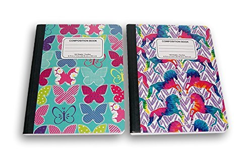 Butterflies and Unicorns Trendy Girl's Wide Ruled 100 Sheets Composition Notebooks - (Pack of 2) by JOT