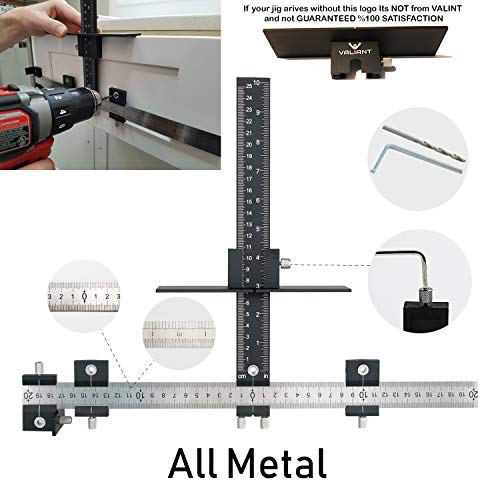 Valiant Cabinet Hardware Jig | Drawer Knobs and Pulls Template Tool for Drilling Holes on Wood | Adjustable Drill Guide Tools for Doweling, Boring and Mounting Door Handles | Made All from Aluminum