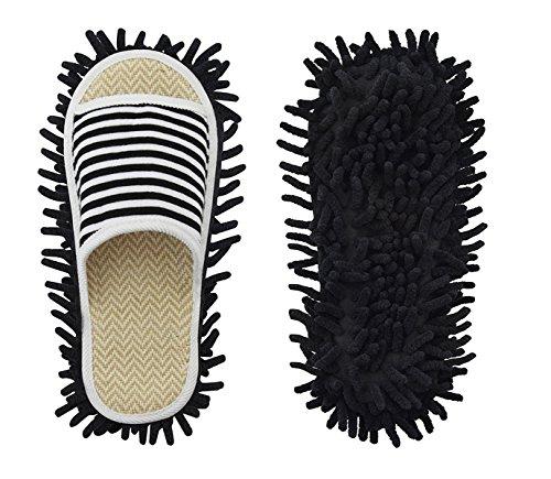 Microfiber Slippers Floor Cleaning Mop Men and Women Unisex House Dusting Slippers Floor Cleaning Tool (Stripe black, Women11-13/Men 9-11)