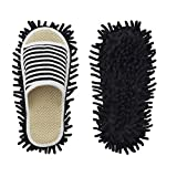 Microfiber Slippers Unisex Floor Cleaning Mop Men and Women House Dusting Slippers Floor Dirt Dust Hair Cleaning Tool (Stripe black, Women11-13/Men 9-11)