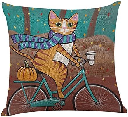 Fhuuly Dibujo Animado Gato Funda de cojín Mignon Gato y Bicicleta Funda de Almohada decoración sofá sofá Cama 43 x 43 cm, Lino, f, 43cm*43cm: Amazon.es: Hogar