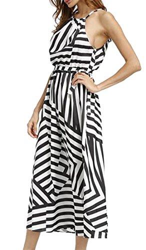 Bltr-femmes Sans Manches Mode Ajustement Imprimé Géométrique Irrégulière Maxi Robe D'été Une