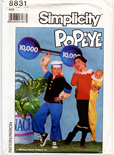Simplicity 8831 Popeye and Olive Oyl Costume Pattern, Adult Size Large, Chest 40 to 42, Sweet Pea Costume Pattern Included Baby Size up to 18 Months or Doll up to 31