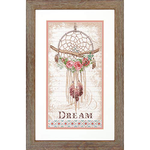 Dimensions 70-35375 Floral Dream Catcher Cross Stitch Kit, 14 Count White Aida Cloth, 8