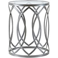 Modern Glam Metallic Silver Metal Glass Round Accent Table End Table Living Room Furniture