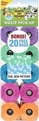 Bags on Board Patterned Dog Waste Bags, 9x14 in, 140 bags