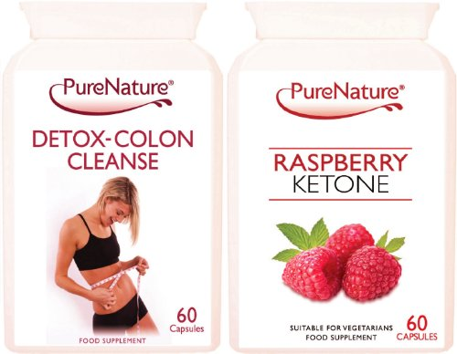 Pure Raspberry Ketone and Detox-Colon Cleanse Combo to Support Weight Loss & Slimming 2 x 60 Capsules Made in the UK Suitable for Vegetarians. FREE UK Delivery
