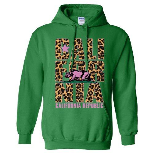 California Republic Leopard Print Text Sweatshirt Hoodie ...