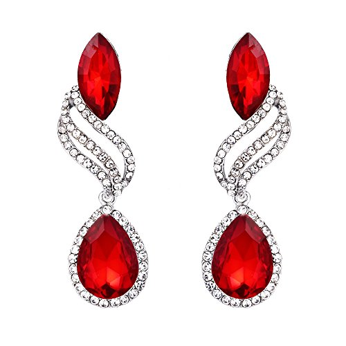 BriLove Silver-Tone Dangle Earrings for Women Wedding Bridal Fashion Crystal Hollow Leaf Teardrop Earrings Ruby Color -