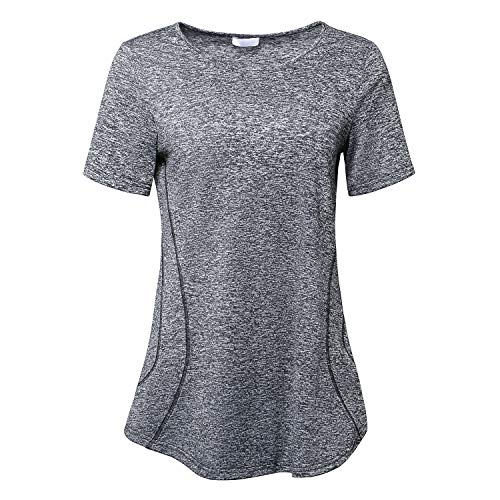 (Women's Short Sleeve Yoga Tops Activewear Running Workout T-Shirt Black Large)