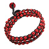 AeraVida Charm Reconstructed Red Coral Brown Cotton Wax Rope Strand Bracelet