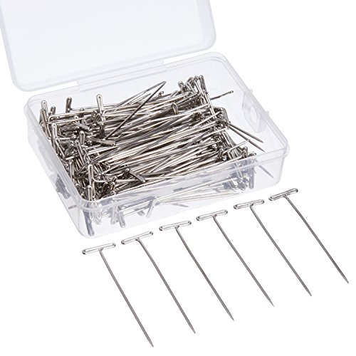 Outus 2 Inch T-pins Steel T-pins with Storage Box for Blocking Knitting, Modeling and Crafts, Silvery, 200 Pieces