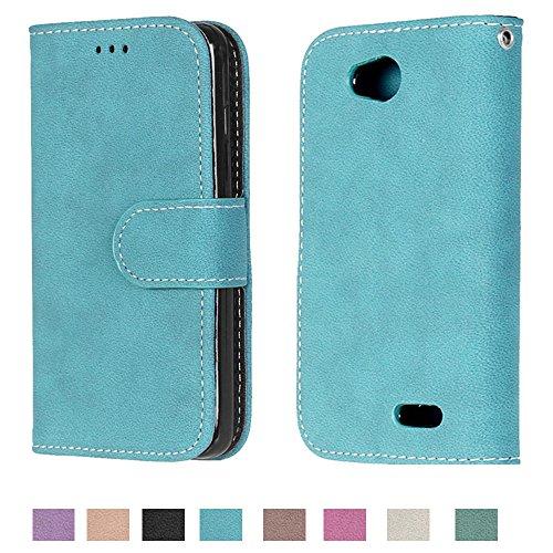 Optimus L90 Case, Optimus L90 Wallet Case TOMYOU Suede Leather Scratch-resistant Anti Slip Built in Card Slots Holder Kickstand Cover for LG Optimus L90 Blue