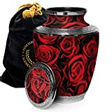 Crimson Rose Cremation Urns for Human Ashes Adult for Funeral, Burial, Columbarium or Home, Cremation Urns for Human Ashes Adult 200 Cubic Inches, Urns for Ashes, Adult/Large